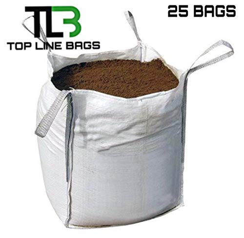 FIBC Bulk Bags 31 x 31 x 31 Open Top, Flat Bottom 2200lbs (25 BAGS) ()