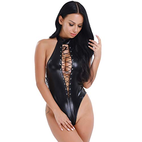 MSemis Women's Sexy One Piece Sleeveless Halter Lace up Patent Leather Bodysuit Clubwear - Teddies Lace Up Leather