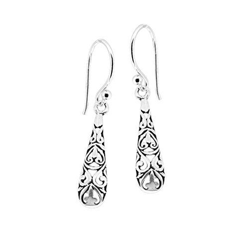 Sterling Silver Decorative Eastern Inspired Drop Dangle Earrings