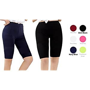 Century Star Women's Modal Over The Knee Length Smooth Short Plus Size Elastic Waist Sport Leggings 2 Pairs Black and Navy Blue US M-US L