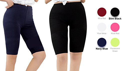 Century Star Women's Modal Over The Knee Length Smooth Short Plus Size Elastic Waist Sport Leggings 2 Pairs Black and Navy Blue US XL-US 1X Plus