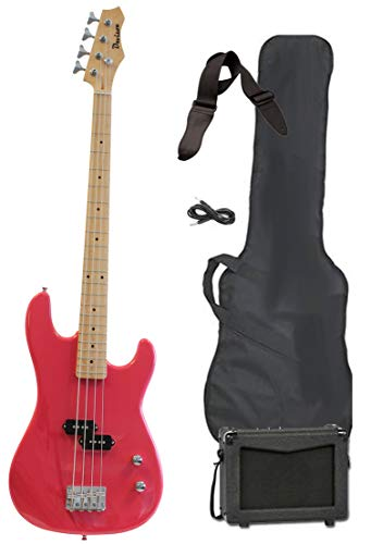 Pink Full Size Electric Bass Guitar with Amp Case & Strap Beginner Starter Package