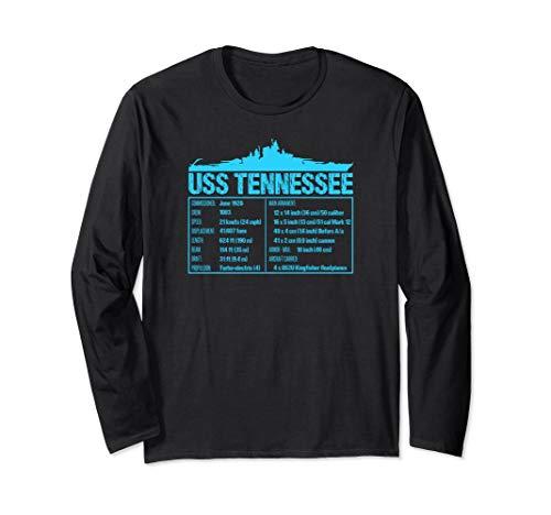 WW2 USS Tennessee Battleship Tech Facts Long Sleeve T-shirt