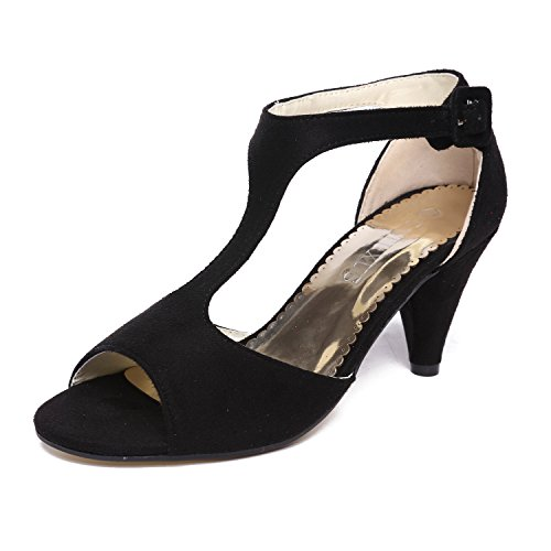 GATUXUS Women Open Toe Ankle T-Strap Kitten Heel Mary Jane Shoes Mid Heel Sandals for Party Prom (10 B(M) US, Black)