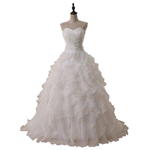 GURNALL 2018 Sweetheart Organza Ruffled Wedding Dresses Beaded Long Bridal Gown White Size 4