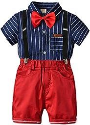 Happy Cherry Toddler Boys Clothing Set Gentleman Outfits Suits, Little Boy Short Sleeve Shirt+Bib Pants+Bowtie