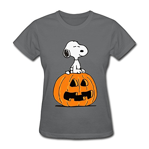 Jiaso Women's Halloween Cute Snoopy Sitting On Pumpkin Tshirt XX-Large DeepHeather]()