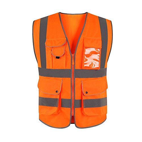 9 Pockets And Seven Color Class 2 High Visibility Zipper Front Safety Vest With Reflective Strips, Men Women ANSI Certified Construction Security Traffic Work Wear   M/XL