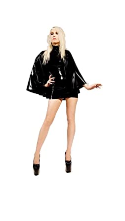 a29fb2b5e7 Top Totty Fashion Sexy Black PVC Caped Dress (XL)  Amazon.co.uk ...