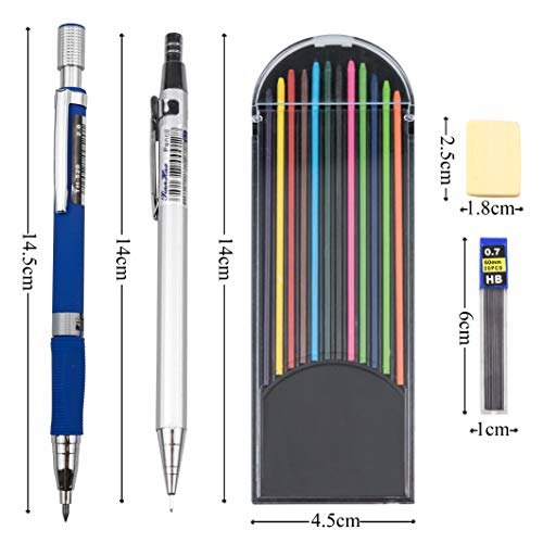 EAONE 30 Pieces Mechanical Pencil Set 13pcs Mechanical Pencils Assorted Sizes (0.5 mm, 0.7 mm, 2.0 mm) and 12 Tubes Lead Refills with 4 Erasers, 1 Plastic Zipper Bag for Drafting Drawing Writing by EAONE (Image #1)
