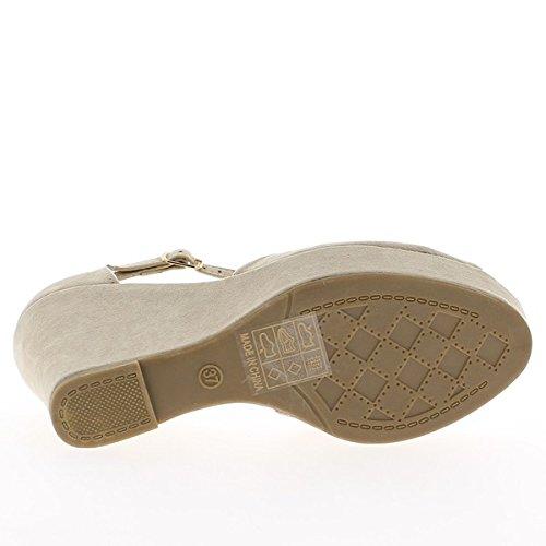Compensare beige tacchi di 10,5 cm e 2,5 cm vassoio