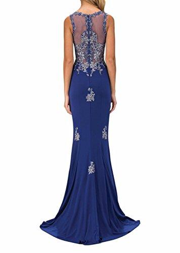 Kleider Applikation Blau Brautmutterkleider Ballkleider Lang Charmant Spitze mit Jugendweihe Damen Abendkleider Partykleider P6xpYqSw