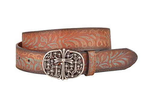 Womens Tan and Teal Leather Belt with Metal Oval Crosses Buckle (Oval Cross Buckle)