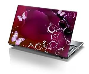 """TaylorHe - Skin adhesivo de vinilo para portátiles de 15 a 15,6"""", diseño de mariposas, color rosa"""