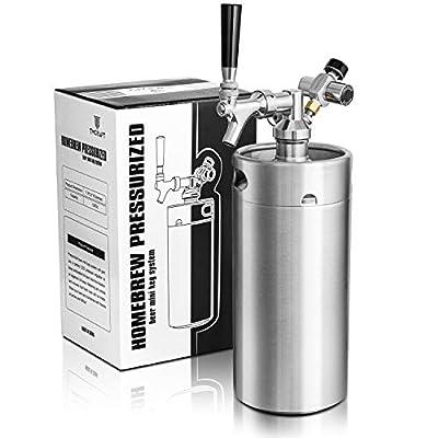 TMCRAFT 128oz Mini Keg Growler, Pressurized Stainless Steel Home Keg Kit System with Updated Co2 Regulator Keeps Fresh…