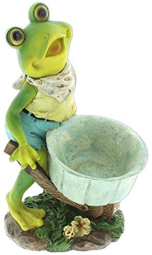 Dazzle Dees Cute Resin Frog Planter (Wheelbarrow)