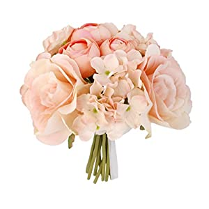 Artificial Silk Rose Hydrangea Bridal Bridesmaid Flower Bouquet 117