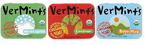 VerMints Organic Gluten Free Non-GMO Vegan Candy Mints 3 Flavor Variety Bundle: (1) Peppermint, (1) Cinnamon, and (1) Wintergreen by Vermints