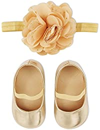 Rising Star Baby Girls Headband with Attached Tulle Flower and Shoes Gift Set