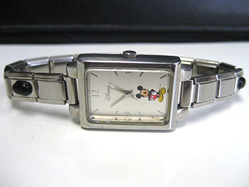 COLLECTORS DISNEY STAINLESS MICKEY MOUSE WATCH WITH BLACK ONYX GEMSTONE BAND
