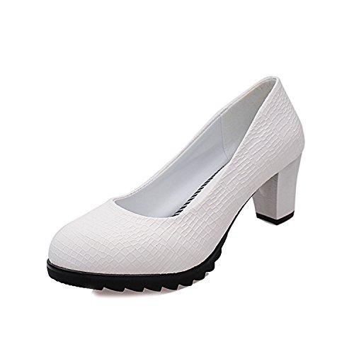 ZHZNVX Otoño nueva versión coreana de los zapatos de tacón alto de cabeza redonda boca superficial solo zapatos curso profesional con sandalias femenino white