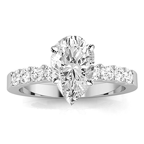 3 Cttw 14K White Gold Pear Cut Classic Prong Set Diamond Engagement Ring with a 2 Carat I-J Color I1 Clarity Center ()