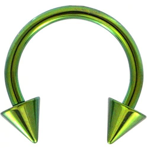 - 14G(1.6mm) Green Titanium IP Steel Circular Barbells Horseshoe Rings w/Spike Ends (Sold in Pairs) (14 Gauge 3/8