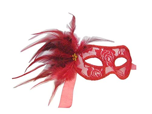 Yyanliii Divertente Maschera Di Piume Artificiali Con Maschera Di Travestimento In Pizzo Per Venetian Halloween Party (Rosso)