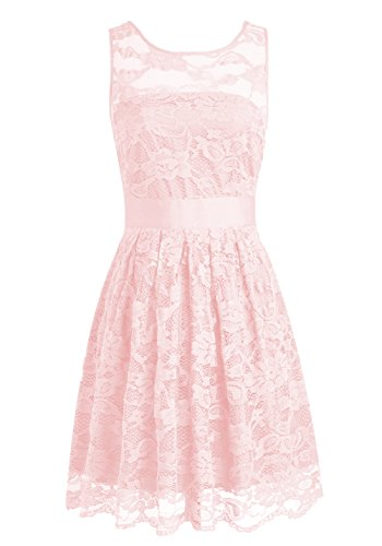 Wedtrend Floral Lace Dress Bridesmaid Dress Short Homecoming Dress Size 4 Blush