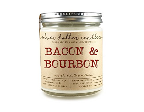 8oz Bacon & Bourbon Man Candle Hand poured 100% Soy Wax Scented Candle by Silver Dollar Candle Co. - Maple, Gifts for Men (Send Bourbon As A Gift)