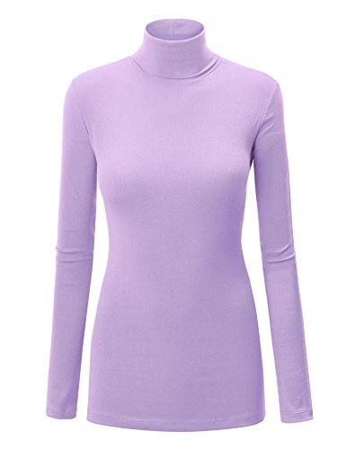 Come Together California CTC WT950 Womens Long Sleeve Rib Turtleneck Top Pullover Sweater L Lilac ()