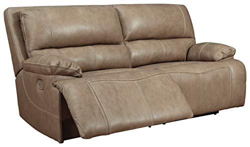 Signature Design by Ashley Ricmen 2-Seat Power Reclining Sofa Adjustable Headrest Putty