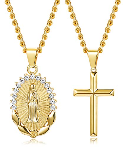(Thunaraz 14K Gold Plated Pendant Necklace for Women Girls Religious Jewelry Gifts for Women Necklace Set)