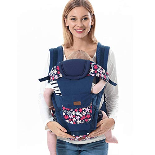 Ergonomic Baby Carrier, Soft & Sturdy Canvas (Organic Cotton & Hemp), Front Carry, Hip Seat and Back Carry, from Newborn to Toddlers (Color : A)