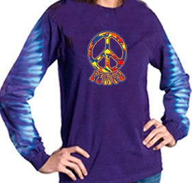 Funky 70s Peace Sign - Funky 70s Peace Sign Symbol Long Sleeve Gemtop T-shirt, XL, Amethyst
