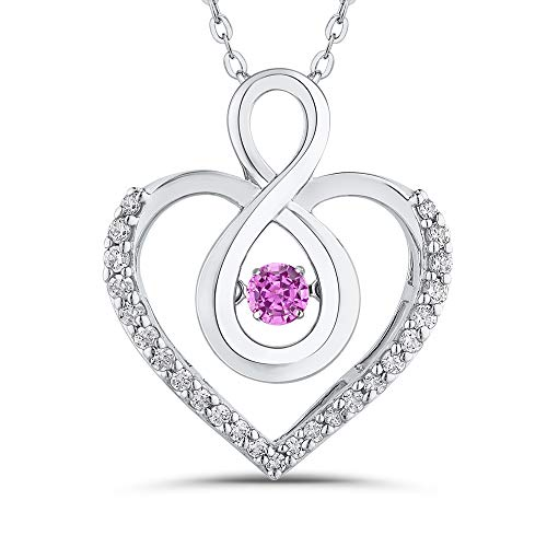 KATARINA Diamond and Pink Sapphire Infinity Heart Pendant Necklace in 14K White Gold (1/4 cttw, G-H, I2-I3)