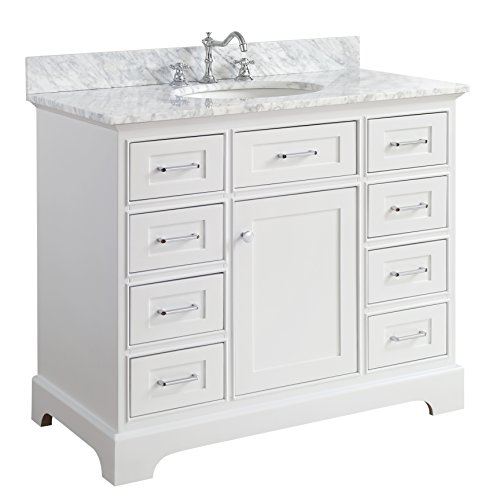 (Aria 42-inch Bathroom Vanity (Carrara/White): Includes a White Cabinet with Soft Close Drawers, Authentic Italian Carrara Marble Countertop, and White Ceramic Sink)
