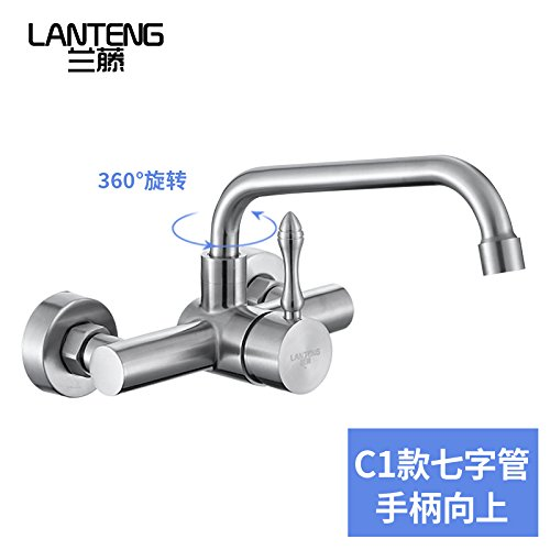 Bijjaladeva Bathroom Sink Vessel Faucet Basin Mixer Tap 304 Stainless Steel kitchen dish washing basin and pool terrace laundry pool two holes into wall and cold water faucet C1(7