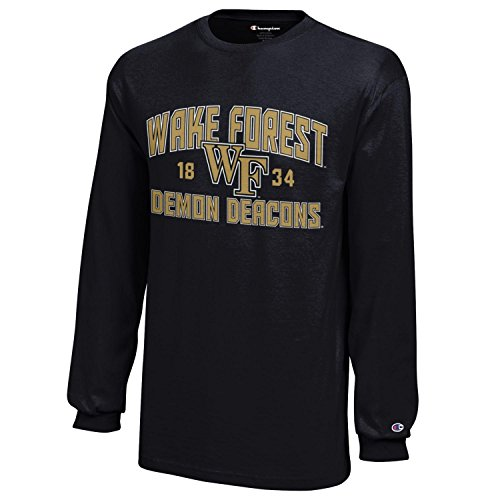 NCAA Wake Forest Demon Deacons Youth Boys Champion Long sleeve Jersey T-Shirt, Large, Black