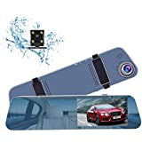 """CHICOM Mirror Dash Cam, Ultra Slim 1080P 5"""" IPS Touch Screen Front and Rearview Dual Lens Dashboard Camera Car Video Recoder with Waterproof Reversing Camera"""