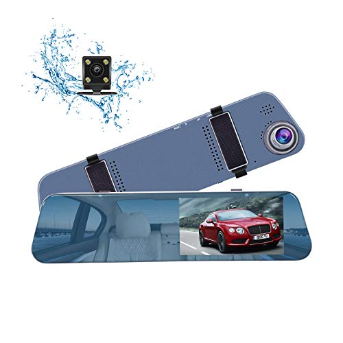 CHICOM Mirror Dash Cam, Ultra Slim 1080P 5″ IPS Touch Screen Front and Rearview Dual Lens Dashboard Camera Car Video Recoder with Waterproof Reversing Camera