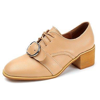 RTRY La Mujer Tacones Zapatos Formales Caída Pu Vestimenta Informal Lace-Up Chunky Talón Almendro Amarillo Negro 1A-1 3/4 Pulg. US6.5-7 / EU37 / UK4.5-5 / CN37