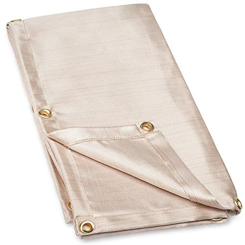 (Neiko 10908A Fiberglass Welding Blanket and Cover, 4' x 6' | Brass Grommets For Easy Hanging and Protection)