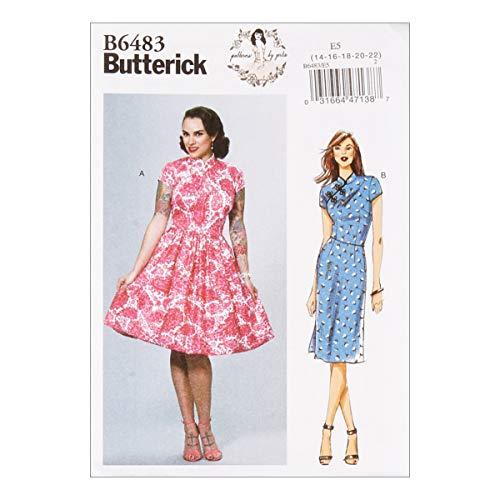 Butterick B6483 Patterns by Gertie Dresses w/Mandarin Collar & Skirt Options A5 (SZ -