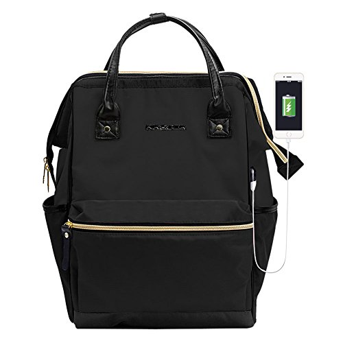 KROSER Laptop Backpack 14.1 Inch Stylish Computer Backpack School Backpack Casual Daypack Laptop Bag Water Repellent Nylon Business Bag Tablet With USB Port for Travel/Business/College/Women/Men-Black -