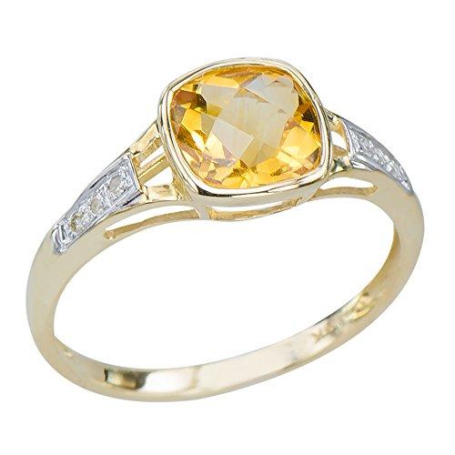 Unique Women's Natural Citrine Gemstone 9K Yellow Gold Di...