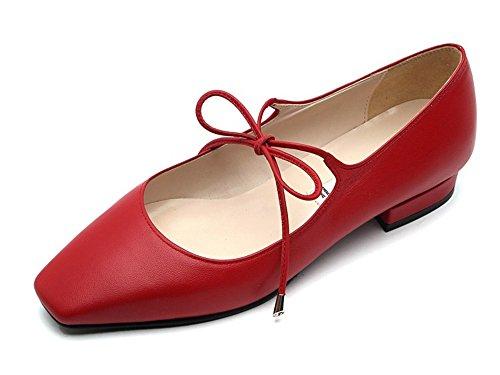 Karen White Zapatos De Cuero De Piel De Oveja Para Mujer Zapatos De Punta Cuadrados Mary Jane, Disponibles En Rojo Y Beige