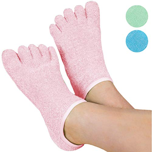 LE EMILIE 5 Toe Moisturizing Gel Socks | Perfect for Healing Dry Cracked Heels and Feet | Infused with an Aromatherapy Blend of Lavender and Jojoba Oil | 1 Pair, Pink