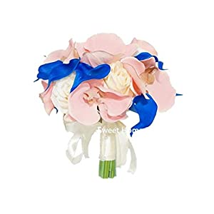 Sweet Home Deco Silk Orchid Rose Calla Lily Mixed Wedding Bridal Bouquet Bridesmaid Bouquet Boutonniere in Ivory/Blush Pink/Royal Blue 59