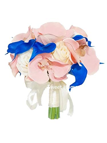 (Sweet Home Deco Silk Orchid Rose Calla Lily Mixed Wedding Bridal Bouquet Bridesmaid Bouquet Boutonniere in Ivory/Blush Pink/Royal Blue (Ivory/Blush/Royal Blue-10''W)